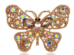 Topaz Butterfly Insect Brooch Pin
