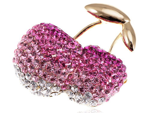 Shine Rose Pink Cherry Fruit Brooch Pin