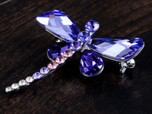 Load image into Gallery viewer, Swarovski Crystal Shine Amethyst Dragonfly Bug Brooch Pin