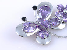 Load image into Gallery viewer, Purple Spring Floral Butterfly Dangle Brooch Pin