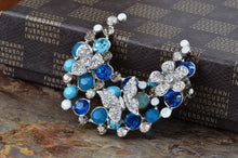 Load image into Gallery viewer, Swarovski Crystal Blue Butterfly Flower Half Moon Brooch Pin