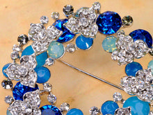 Load image into Gallery viewer, Swarovski Crystal Pacific Sapphire Color Christmas Floral Wreath Gift Cystal Pin Brooch