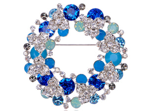 Swarovski Crystal Pacific Sapphire Color Christmas Floral Wreath Gift Cystal Pin Brooch