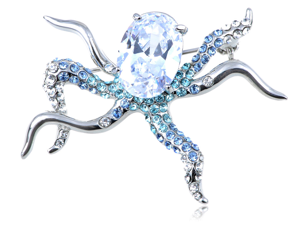 Swarovski Crystal Octopus Ice Body Pin Brooch