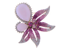 Load image into Gallery viewer, Swarovski Crystal Fuchsia Pink Empress Lily Orchid Flower Pin Brooch