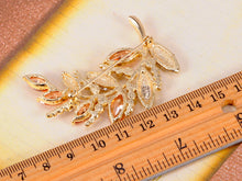 Load image into Gallery viewer, Swarovski Crystal Topaz Colored Curved Leaf Tree Branch Brooch Pin