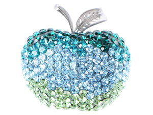 Swarovski Crystal Silver Shine Blue Green Apple Brooch Pin