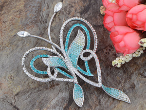 Swarovski Crystal Zircon Blue Abstract Butterfly Outline Pin Brooch
