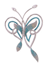 Load image into Gallery viewer, Swarovski Crystal Zircon Blue Abstract Butterfly Outline Pin Brooch