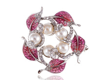 Load image into Gallery viewer, Swarovski Crystal Rose Pink Cream Pearl Leaf Wreath Pin Brooch