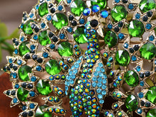 Load image into Gallery viewer, Blooming Emerald Colored Peacock Pin Brooch