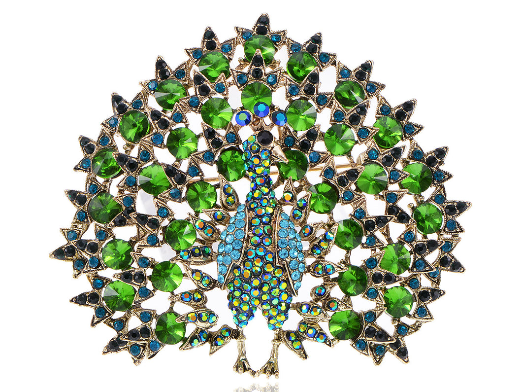 Blooming Emerald Colored Peacock Pin Brooch