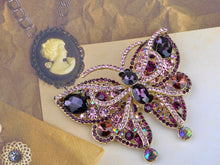 Load image into Gallery viewer, Vintage Amethyst Pink Butterfly Insect Brooch Pin