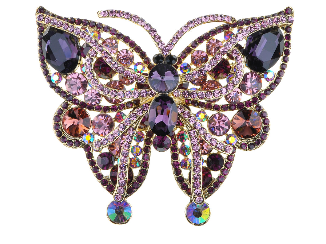 Vintage Amethyst Pink Butterfly Insect Brooch Pin