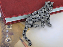 Load image into Gallery viewer, Gun Black Square Leopard Brooch Pin