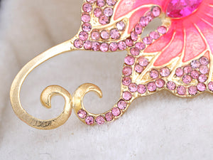 Pink Big Butterfly Asymmetrical Tail Wings Brooch Pin