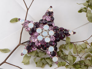 Amethyst White Opal Holy Star Pin Brooch
