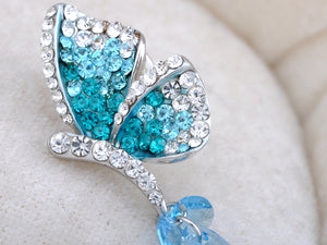 Elements Aquarmarine Blue Color Dragonfly Pin Brooch