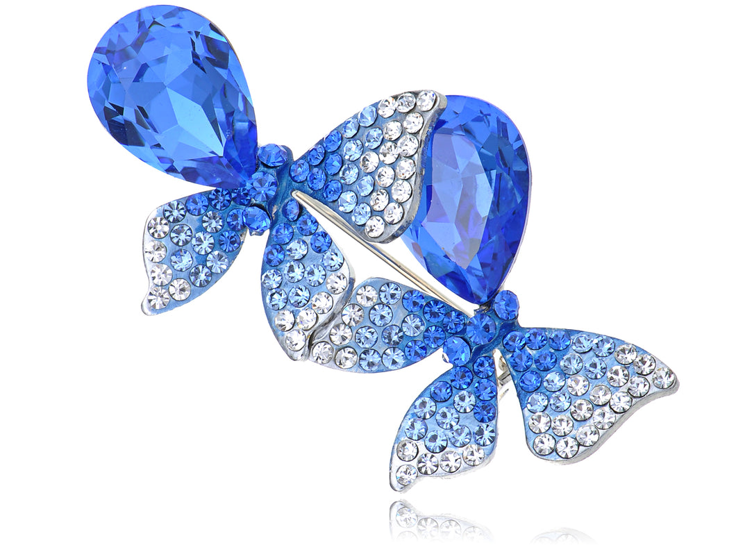 Swarovski Crystal Sapphire Blue Colored Ombre Butterfly Brooch Pin