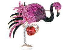 Load image into Gallery viewer, Fuchsia Rose Element Flamingo Pin Brooch