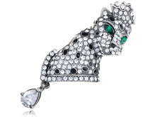 Load image into Gallery viewer, Swarovski Crystal Dazzle Element Leopard King Crown Pin Brooch