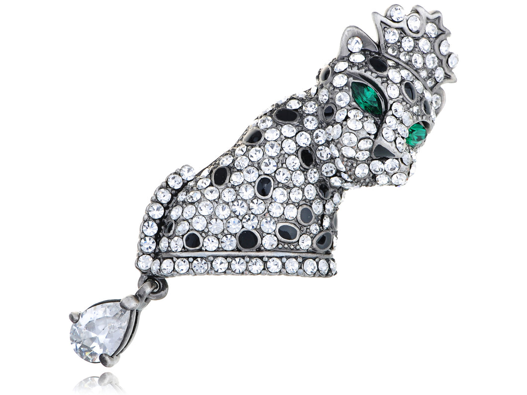 Swarovski Crystal Dazzle Element Leopard King Crown Pin Brooch