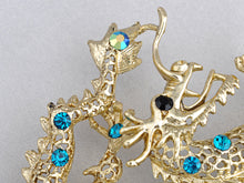 Load image into Gallery viewer, Light Blue Chinese Zodiac Fire Ball Dragon Brooch Pin