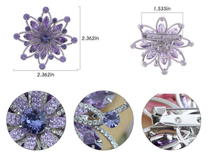 Swarovski Crystal Layered Purple Periwinkle Floral Flower Wreath Badge Brooch Pin