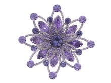 Load image into Gallery viewer, Swarovski Crystal Layered Purple Periwinkle Floral Flower Wreath Badge Brooch Pin
