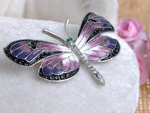 Load image into Gallery viewer, Purple Gradient Enamel Paint Dragonfly Emerald Green Eyes Encrusted Brooch