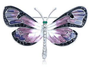 Purple Gradient Enamel Paint Dragonfly Emerald Green Eyes Encrusted Brooch