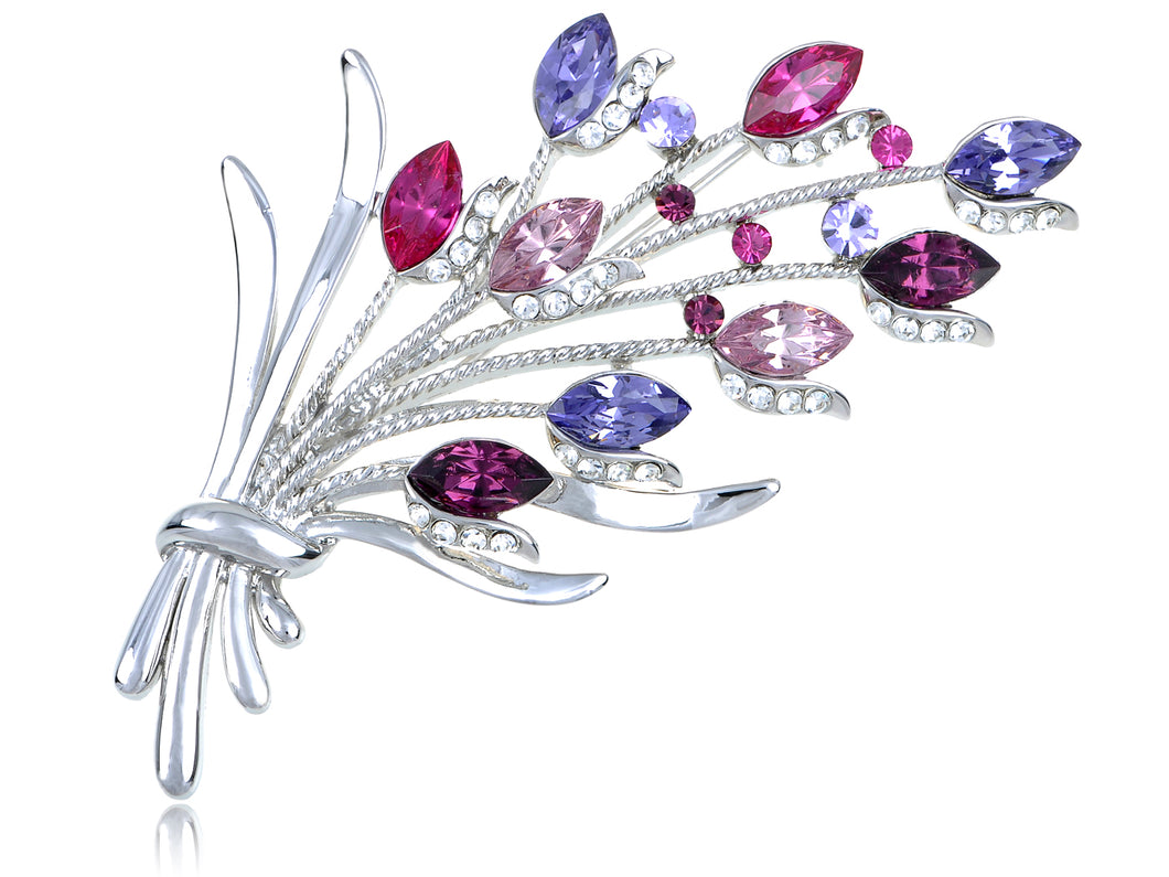 Swarovski Crystal Rose Floral Bunch of Brances Silvery Brooch