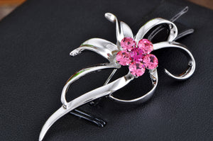 Elements Rose Pink Deate Dainty Flower Swirl Pin Brooch