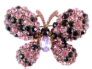 Two Amethyst Enchanted Fairytale Butterfly Pin Brooch