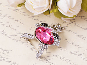 Swarovski Crystal Elements Fuchsia Bunny Black Brooch