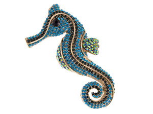 Blue Green Nautical Ocean Seahorse Brooch Pin
