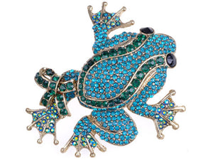 Blue Green Frog Finding Some Love Joy Blast Dance Hall Party Celebrate Brooch