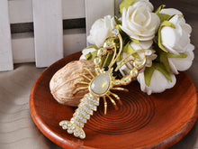 Load image into Gallery viewer, Swarovski Crystal Elements Lobster Clawing Through Water Brooch