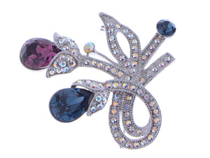 Swarovski Crystal Colorful Blue Purple Floral Brooch Pin