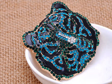 Load image into Gallery viewer, Emerald Zircon Embellished Fierce Aged Tiger Pin Brooch