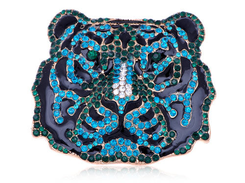 Emerald Zircon Embellished Fierce Aged Tiger Pin Brooch