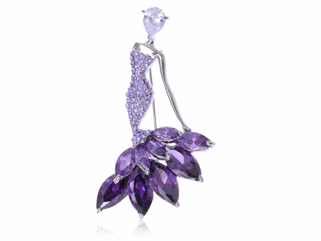 Swarovski Crystal Purple Girl Ballet Dancer Ball Gown Dress Brooch Pin