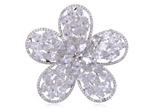 Swarovski Crystal Shine Cutout Five Petal Flower Floral Brooch Pin