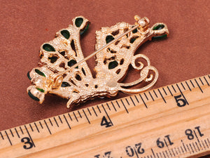Swarovski Crystal Emerald Green Element Side Flying Butterfly Brooch Pin
