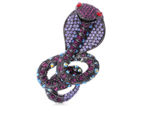 Load image into Gallery viewer, Elements Many Shades Of Amethyst Colored Coiled Cobra Snake Pin Brooch