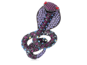 Elements Many Shades Of Amethyst Colored Coiled Cobra Snake Pin Brooch