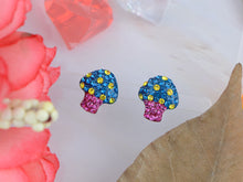 Load image into Gallery viewer, Swarovski Crystal Toadstool Cartoon Sapphire Yellow 925 Mushroom Ag Earrings