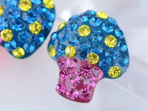 Swarovski Crystal Toadstool Cartoon Sapphire Yellow 925 Mushroom Ag Earrings