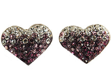 Load image into Gallery viewer, Swarovski Crystal Amethyst Purple Round Love Couple Heart 925 Silver Earrings