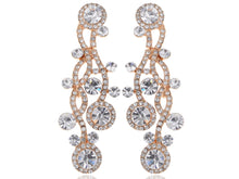 Load image into Gallery viewer, Swarovski Crystal Element Gold Wavy Chandelier Dangle Drop Earrings